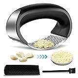 Manfore Spremiaglio in acciaio inox e zenzero, utensile da cucina antiruggine, tagliaaglio con 1 pela-aglio in silicone e 1 spazzola per la pulizia, facile da pulire