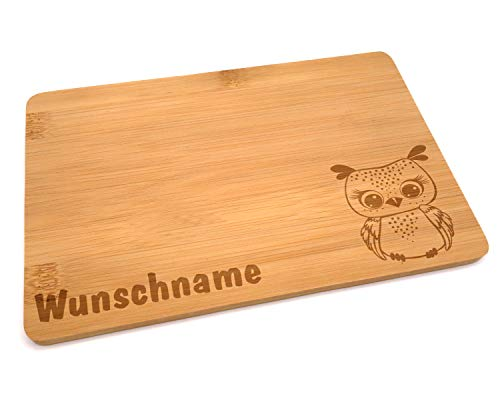 Samunshi® Holzbrett mit Gravur Eule aus Bambus Brett Frühstücksbrettchen Kinder als Holz Schneidebretter Holzbrett Küche Vesperbrett mit Motiv