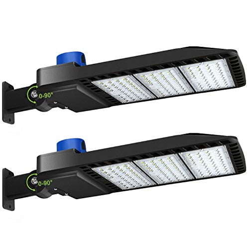 LEDMO 300W LED Parking Lot Lights Adjustable Arm Mount with Photocell 1000-1200W HID/HPS Replacement Waterproof IP65 36000LM 5000K Outdoor Commercial Area Street Lighting
