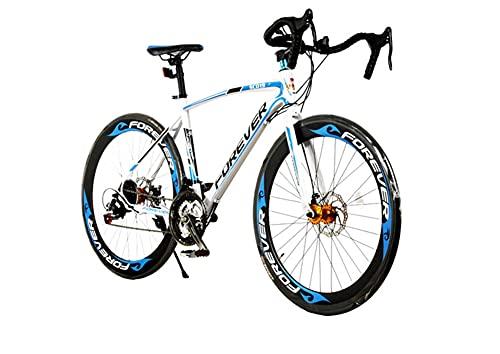 26 En Bicicletas De Carretera 700C Al Aire Libre Ciclismo Shimano 21 Velocidades De Carreras De Velocidad, Dual Disco Brakelight High Carbon Acero Marco Ciudad