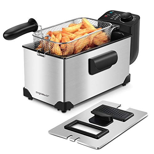 Aigostar Deep Fryer 2200W, 3L, 304 Stainless Steel, with Viewing Window, Temperature Control, Removable Oil Basket, Silver - Ushas 30JPN.