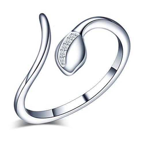 Yumilok, anello da donna regolabile, a forma di serpente, in argento 925, anello per partner, anello di sicurezza, per donne e ragazze, per anniversari