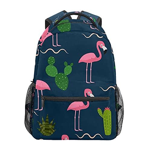 Mochila escolar para portátil con diseño de flamenco rosa con cactus tropical, mochila de viaje casual
