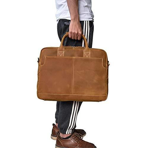 """QSGNR Aktentasche Echtes Leder Männer Aktentasche 16\""""Große Kapazität Business Laptop Tasche Retro Einfache Leder Arbeit Tote Handtasche Umhängetasche Typ 3"""