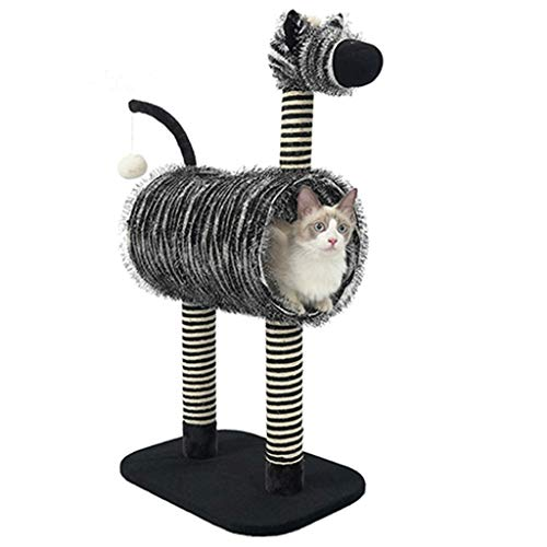 DWW Large Cat Condo Creative Kitten Castle Zebra House, Tunnel and Scratching Posts, Soft Fabric, Durable, Kitty's Strong Interest, Best Sleep and Play Activity Club