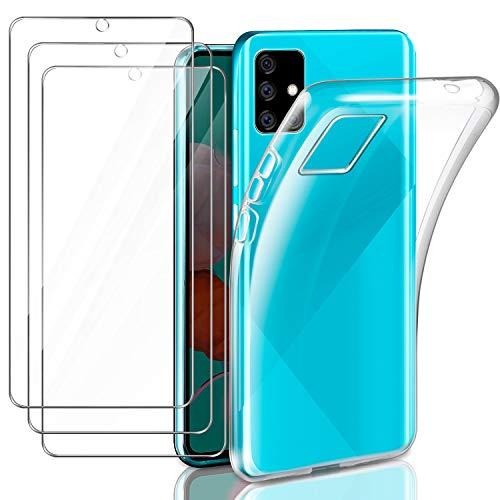 Leathlux Funda Compatible con Samsung Galaxy A51, 3 Pack Protector de Pantalla, Transparente TPU Silicona Funda y Cristal Vidrio Templado Compatible con Samsung Galaxy A51 6.5 Pulgada