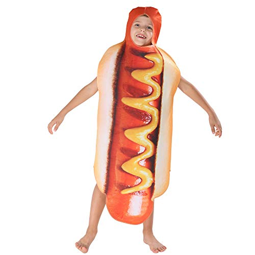 gousheng 3D Kinder Hot Dog Set Overall Essen BüHnenspiel KostüM Riesen Hot Dog Halloween KostüM Eine GrÖSse