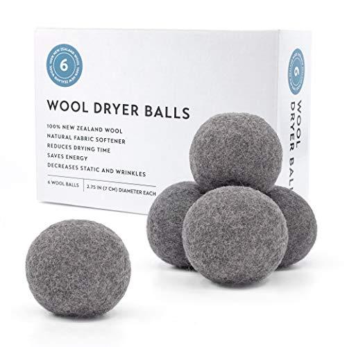 Zeal Concept Wool Dryer Balls 6-Pack, XL Size, 100% Organic New Zealand Wool. (Grey)