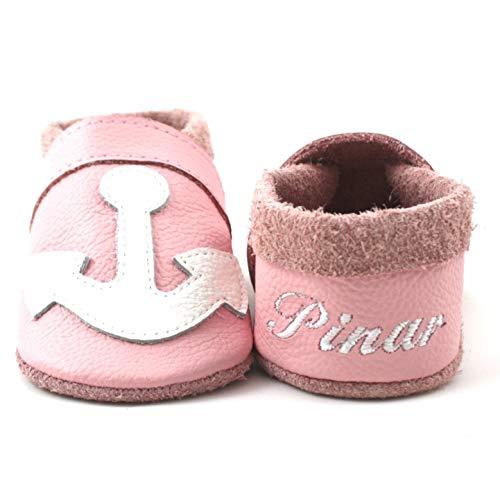 little foot company Krabbelschuhe Babyschuhe Lauflernschuhe mit Namensstickerei Anker weiches Leder rosa 20/21 ca. 1 1/2-2 Jahre