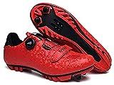 JINFAN Zapatillas de Ciclismo MTB, Zapatillas de Bicicleta de Montaña para Hombre,Zapatos de Cala de Bicicleta Antideslizantes para Exteriores,Red-8.5UK=42EU(260mm)