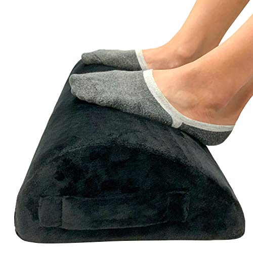 Foot Rest for Under Desk at Work by FondLife – Foam Work Table – Ergonomic Office Foot Rest – Under Desk Footrest with Teardrop Curve Design and Non-Slip Bottom, Black