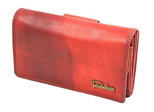 Pedro Vintage Geldbörse Used Look Portmonnaie Leder rot (Modell 3)