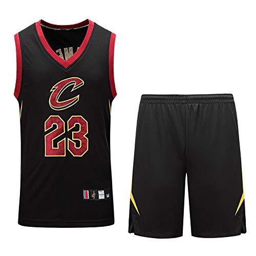 AGAB Uomo NBA James # 23 Cleveland Cavaliers Retro Pantaloncini da Basket Summer Jersey Canotte da Basket Uniform e Short One Set-Black-S