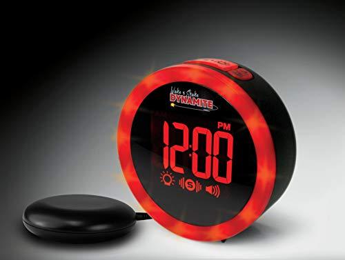 Geemarc Wake'n Shake Dynamite - Vibrationswecker mit starker Weckton 90dB, Lichtkranz und Lampenfunktion