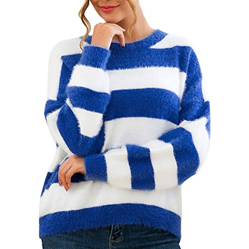PPangUDing Strickpullover Strickpulli Sweater Damen Neue Langarm Rundhals Fleece Gefüttert Gestreifter Farbblock Patchwork Regular Fit Knitted Jumper Sweatshirt Tops Für Herbst Winter