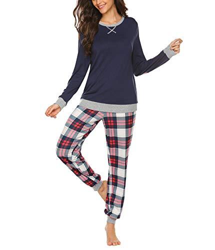 INZOE Pyjama Damen Winter Schlafanzug Lang Set Zweiteiliger Sleepwear Langarm Nachtwäsche Lang Hausanzug mit Karierte Hose Herbst Blau für Frauen XL
