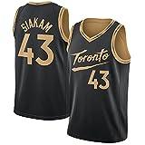 DFGHU Camiseta de manga corta para hombre de baloncesto Raptor de secado rápido y transpirable Siakam Jersey #43 Negro