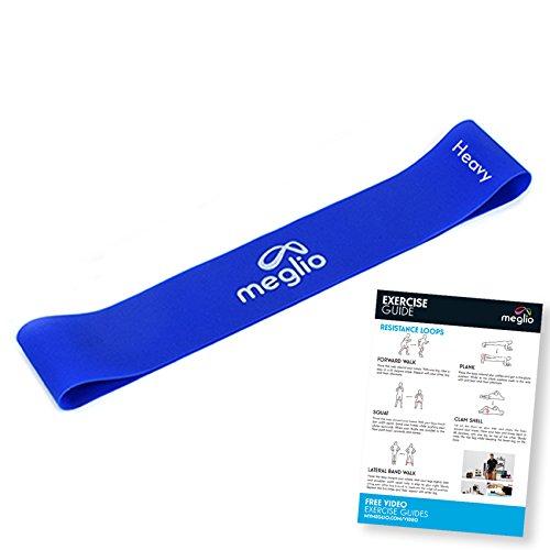meglio Widerstandsband Loop 1x blau – Loop Band/Fitnessbänder / Gymnastikbänder für Yoga, Pilates, Rehabilitation, Training – kostenloses Übungs-Guide inbegriffen -  blau (schwer))