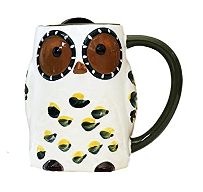 Owl Shaped And Painted Ceramic Travel Mug