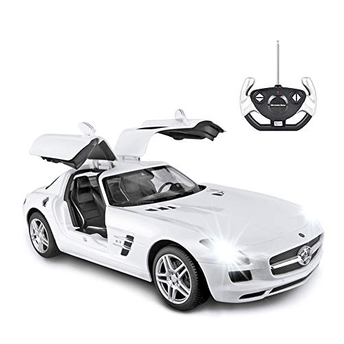 RASTAR Benz Remote Control Car |1:14 RC Mercedes Benz SLS AMG Model Car Toy Car for Kids, Open Doors by Manual - White 27 MHz/40 MHz