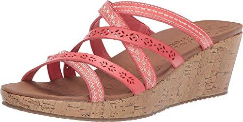 Skechers Women's Slide Wedge Sandal, Coral, 9.5