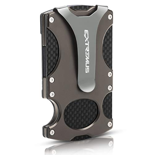Extremus Tactical Wallet, Carbon Fiber Wallet, Money Clip, RFID Blocking Technology, Carbon Fiber and Stainless-Steel Construction, Holds 15 Cards Plus Cash, Ultra-Thin Design, Minimalist Wallet, Gunsmoke