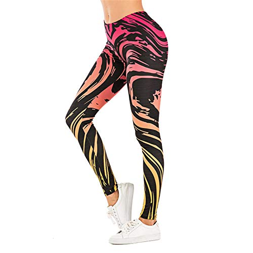 Padaleks Women's High Waisted Pattern Leggings Full-Length Yoga Pants Tummy Control Workout Running Stretch Tights