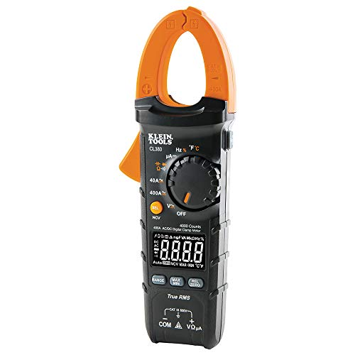 Klein Tools CL380 Electrical Tester, Digital Clamp Meter and Non-Contact Voltage Tester, Auto-Ranging and TRMS, 400 Amps, LCD Display