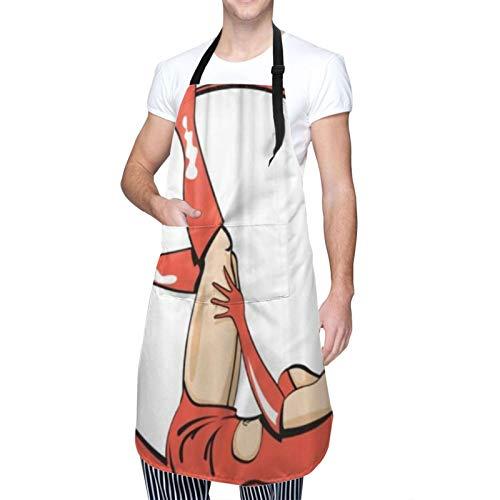 SUDISSKM Delantal,Vintage Retro Pinup Girl Mujer vestida con traje de diablo como si fuera un disfraz de Halloween,Unisex Delantales de Cocinero para Restaurante Barbacoa Cocinar Hornear 84x70cm