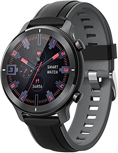 Smartwatch Hombre, Reloj Inteligente 1.3 Pulgadas Táctil Completa IP68, Pulsera de Actividad Deportivo Pulsómetro Monitor de Sueño, Control de Musica(Negro)