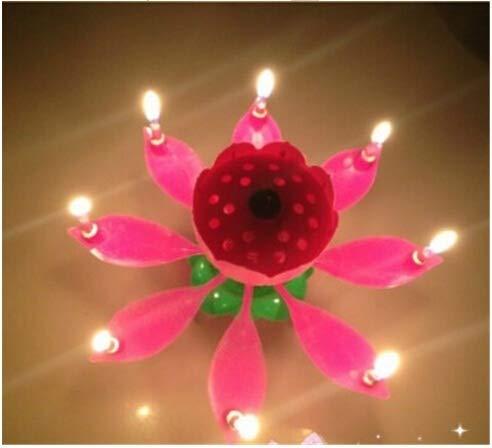 HELEVIA Velas musicales mágicas de flor de loto, para pastel de cumpleaños,...