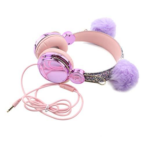Unknows - Auriculares de peluche con cable USB de 3,5 mm