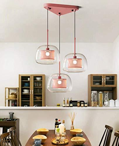 JUAN Mooie lampen/Loft Vintage hanglamp eettafel hanglamp romantische industriële hanglamp lichter-roze 3-vlammen-metaal en glas hangende verlichting retro dining bar café keuken kandelaar