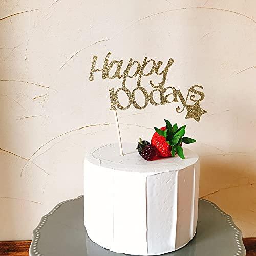 ケーキトッパー Happy 100days 100 100日目 お祝い用 筆記体 スター 星 ゴールド スクラップブッキング ケーキ デコレーション クラフト 紙製 ペーパー
