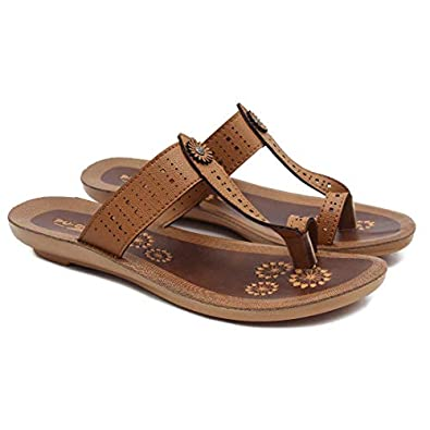 ASIAN Women's Ladies Kohlapuri Chappal for Women's Stylish Flat Heels Slippers for Women's | Laser-254 Girl's Red Shoes for Women's Walking Synthetic Slipper