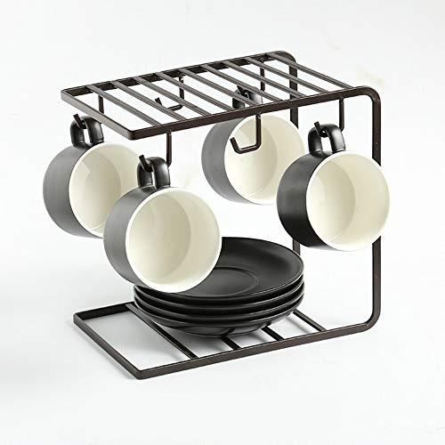 MSNLY Taza de café Europea de Esmalte de cerámica Mate Taza Creativa de cerámica Juego Simple con Plato de Cuchara Taza de Boca Ancha Taza de Leche
