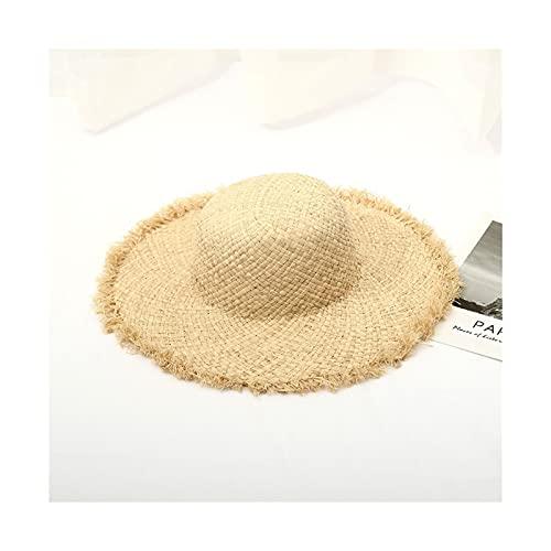 Sombrero para el Sol Sombrero de la Playa de Las Mujeres de Verano con Cinta de Encaje Temperamento de Las señoras Redondo Plano Sombreros de Paja Sunhat Sombrero de Playa (Color : 1, Size : L