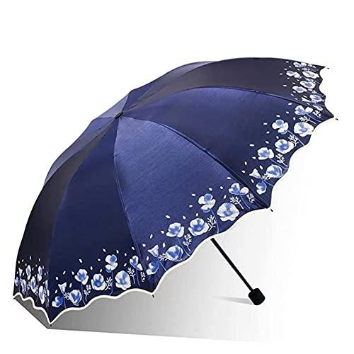 UKKD Parapluie Big Sun Umbrella Pluie Femmes Fleur Fleur Double Parasol Girl Girl De Qualité Light Femme Protection UV Parapluies-Navy Blue