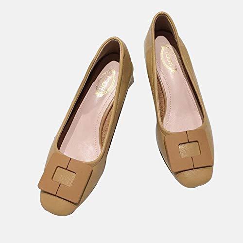 LGYKUMEG Elegante Damenschuhe Mit Quadratischen Zehen, Flache Low-Top-Schuhe, Hausschuhe Für Damen,Braun,38