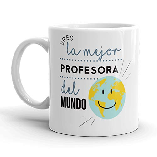Kembilove Tazas de Desayuno para Profesores – Tazas de Café con Mensaje Eres la Mejor Profesora del Mundo – Tazas de Té Ideal para Regalar a Profesores, Fin de Curso