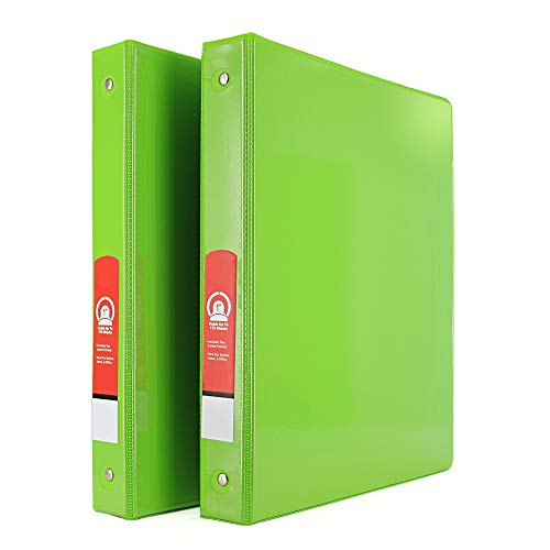 """Emraw Super Great 1"""" 3-Ring View Binder with 2-Pockets - Available in Lime Green - Great for School, Home, & Office (2-Pack)"""
