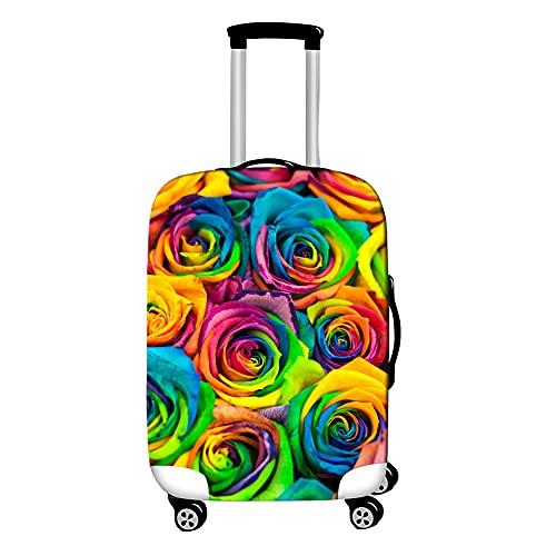 Surwin 3D Cubierta de Equipaje Protectora Suave Elástico Anti-Polvo Lavable Funda de Maleta Luggage Cover con Cremallera Viaje Cubierta de la Caja (Flor Rosa 2,M (22-24 Pulgadas))