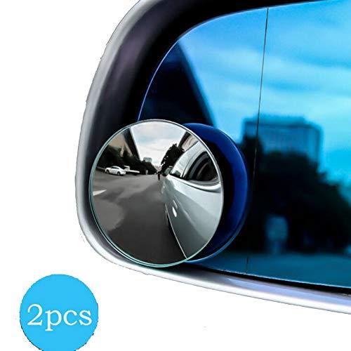 FDSEF Auto randloser Kleiner runder Spiegel 360 Grad, der blinden Fleckspiegel konvexen Spiegelrückspiegel rückspiegelnder Spiegelglas Kleiner runder Spiegel umkehrt