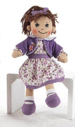 "Soft Cloth Doll, 14"" with Removable Clothing, Embroidered Facial Features, Brown Yarn Hair"