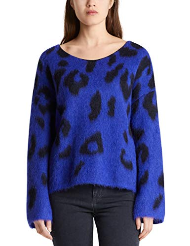 Marc Cain Collections Damen MC 41.27 M19 Pullover, Mehrfarbig (Blue Violet 751), 36 (Herstellergröße: 2)