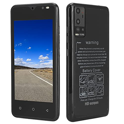 Mini Ultra Thin Smartphone, 4.66inch Display 512MB+4GB for Android 4.4.2 Dual SIM Cards Cell Phone, 2MP Autofocus Camera Powerful Processor 128GB Expandable Storage Backup Phone(Black)