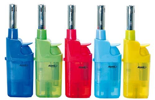 Fzg Stabfeuerzeug 10,5cm transparent farbig 5er Pack Leichtbedienung Seniorengerecht Anzünder BBQ