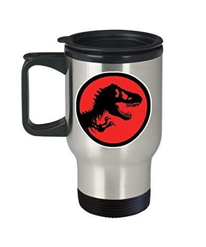 Maureen52Dorothy Taza de café con logotipo de T Rex Jurassic Park (viaje) de 396 ml, diseño de dinosaurios del parque jurásico, accesorios de regalo para camisas, calcomanía de arte