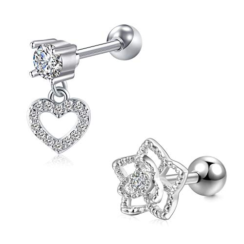 Briana Williams 2pcs 16G Tragus Helix Cartilage Earring Stainless Steel Stud Bars 6mm with Heart Dangle CZ Piercing