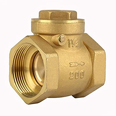 "DN32 BSP 1-1/4"" Female Thread Brass Non-Return Swing Check Valve 232PSI Prevent Water Backflow Yellow by Walfront"